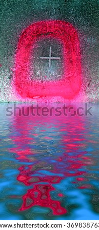 abstract sign marked with red graffiti on grunge textured background reflected in water - stock photo