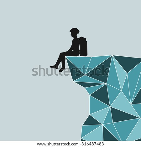 abstract silhouette climber with equipment sitting on the edge of the mountain. Climber with a backpack sitting on the glacier mountain. Safety Directions, Regular safety. - stock photo