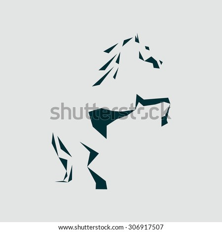 abstract silhouette of a horse, buyout stands on its hind legs. Stylized horse logo - stock photo