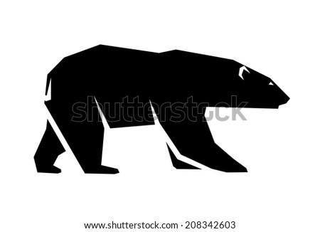 abstract silhouette of a polar bear - stock photo