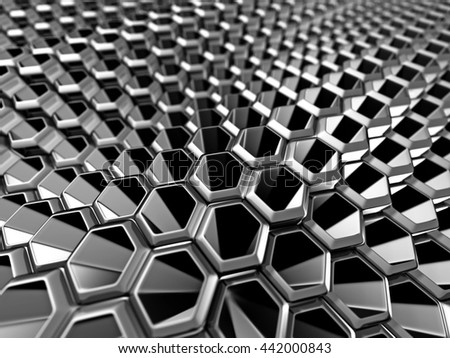 Abstract Silver Alluminium Metallic Shiny Background. 3d Render Illustration - stock photo