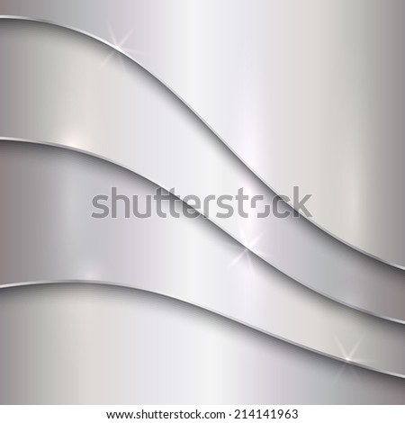 abstract silver metallic background with curves - stock photo