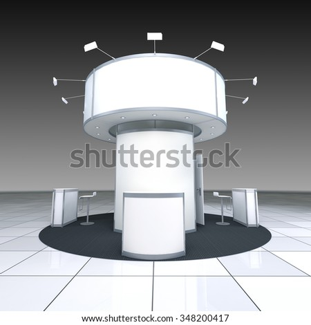 abstract simple exhibition stand with radial blank frieze - stock photo