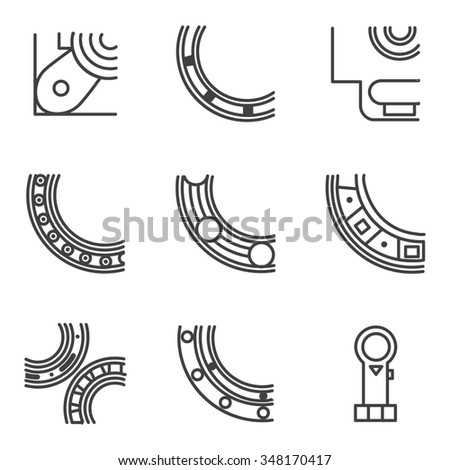 Abstract simple line design icons for set of parts of bearings. Ball, radial, roller and other types bearings for mechanism components - stock photo