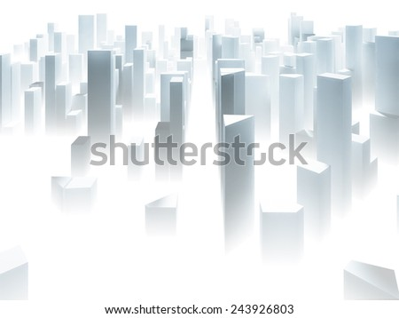 Abstract simple paper city background with skyscrapers - stock photo