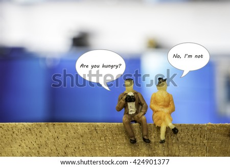 abstract situation of dialog box between man and woman pattern - can use to display or montage produc and can edit or change text on white dialog - stock photo