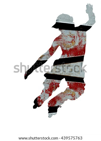 Abstract Skater Silhouette - double exposure effect - isolated - stock photo
