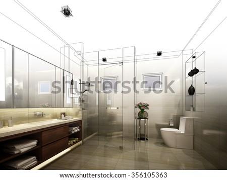 abstract sketch design of interior bathroom  - stock photo