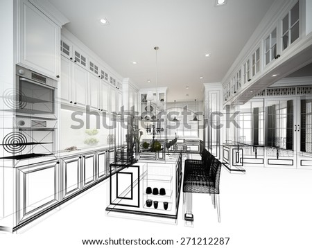 abstract sketch design of interior kitchen - stock photo