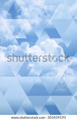 abstract sky geometric background with polygons, triangles and cumulus clouds,  polygonal cloudscape backdrop, op art  - stock photo
