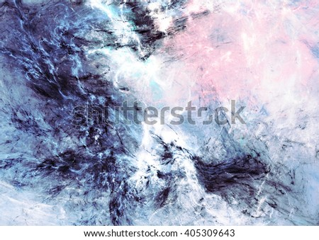 Abstract sky with shiny color clouds. Fantasy soft pattern with lighting effect. Beautiful painting background. Fractal artwork for creative graphic design - stock photo