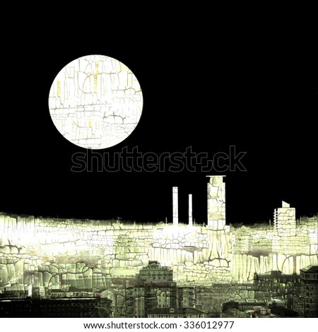 Abstract skyline city background with full moon - stock photo