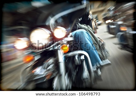 Abstract slow motion, bikers riding motorbikes, drivers racing on a bikes, front view, blur movement, summer road trip, speed concept, freedom - stock photo