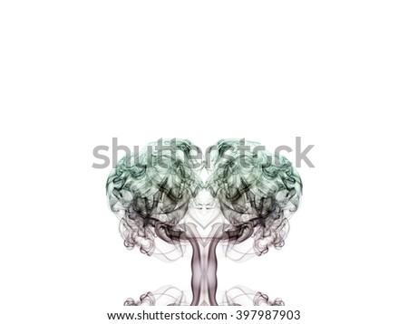 Abstract Smoke Art, WHITE BACKGROUND - stock photo