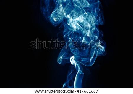 Abstract smoke background blue color smoke - stock photo