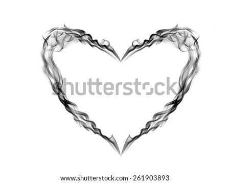 Abstract smoke heart isolated on black background - stock photo