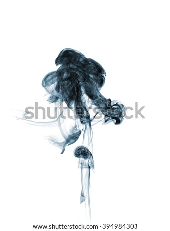 Abstract smoke moves on a white background - stock photo