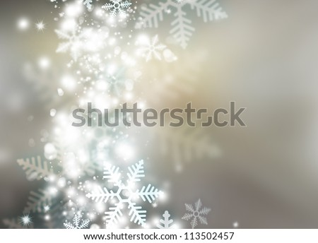 Abstract snowflakes background for winter and christmas theme - stock photo