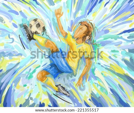 Abstract Soccer Player Painting, Football Brazil Kicking, Oil Painting (Digital Painting) - stock photo