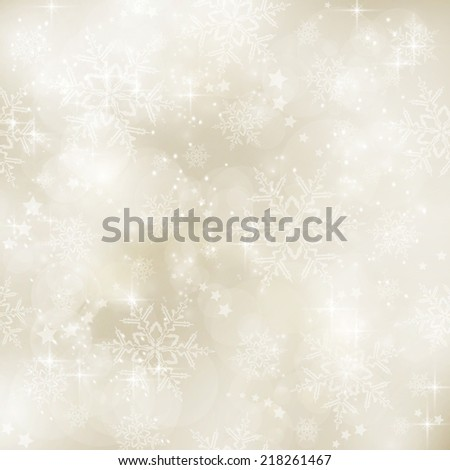 Abstract soft blurry background with bokeh lights, snow flakes and stars in shades  of gold beige. The festive feeling makes it a great backdrop for many winter,  Christmas designs. Copy space. - stock photo