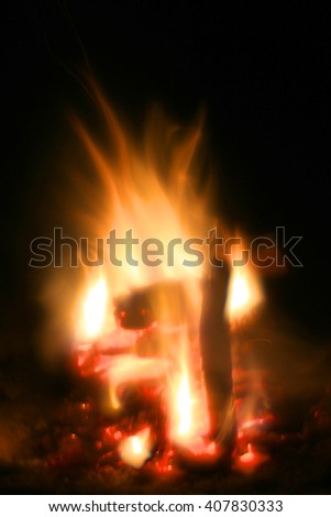 Abstract soft photo of campfire flame - stock photo
