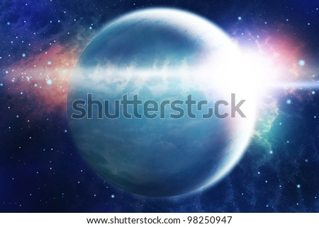Abstract space landscape with planet and sunrise look like burst. - stock photo