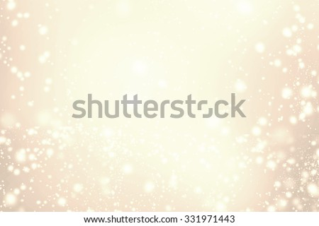 Abstract Sparkling Merry Christmas card - Golden  lights, stars and snowflakes. Splashes of champagne - stock photo