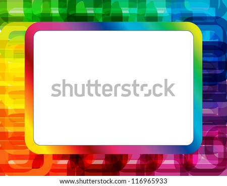 Abstract Spectrum Frame - Frame created with abstract oblong ring design in spectrum colors with copyspace - stock photo