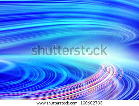 Abstract speed motion in blue highway road tunnel, fast moving toward the light, colorful fiber optics technology background. Computer generated illustration. - stock photo