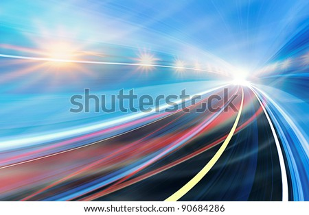Abstract speed motion in urban highway road tunnel, blurred motion toward the light. Computer generated colorful illustration. Light trails, fiber optics technology background. - stock photo