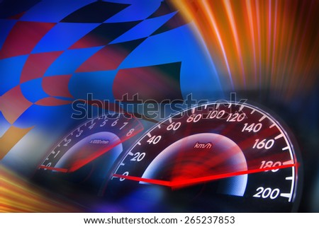 abstract speed racing background with speedometer - stock photo