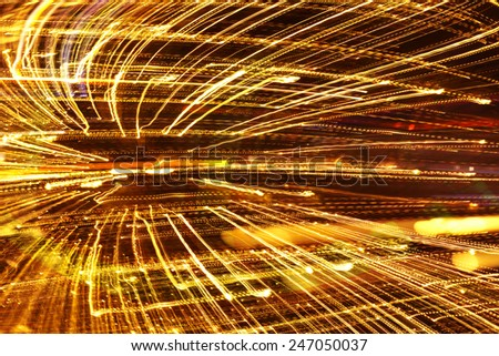 Abstract speed technology futuristic background, fiber optics, fast moving light trails,  - stock photo
