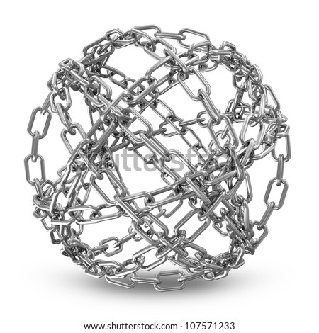 Abstract Sphere Made From Silver Chains on white background - stock photo