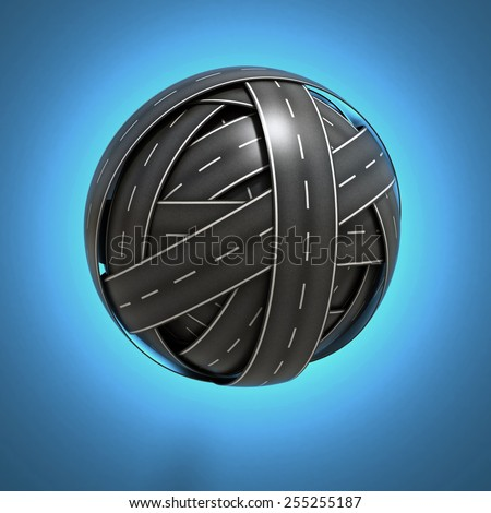 abstract sphere made of asphalt road - stock photo