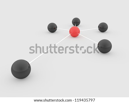 Abstract sphere network one sphere red - stock photo