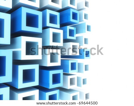 Abstract sport geometrical background with blue and white frames - stock photo