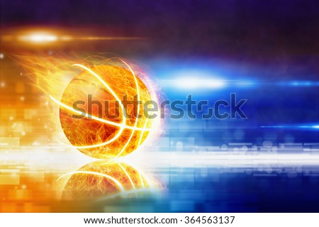 Abstract sports background - burning basketball with reflection, glowing colorful lights - stock photo