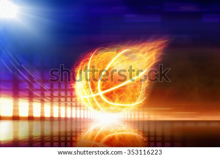 Abstract sports background - burning basketball with reflection, orange glowing lights, bright blue spotlight - stock photo