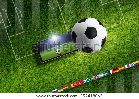 Abstract sports background - soccer ball and stadium, game online, field layout - stock photo