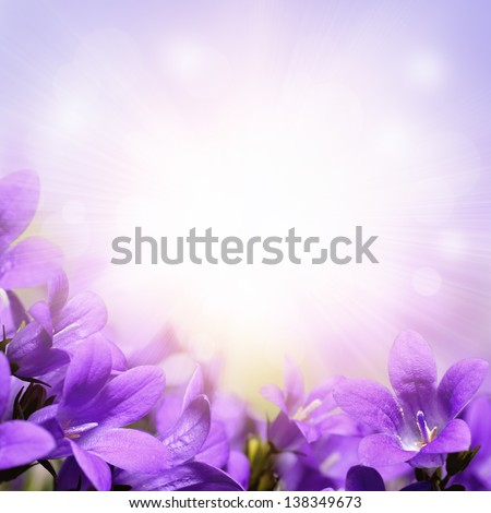 Abstract spring background with purple flowers - stock photo
