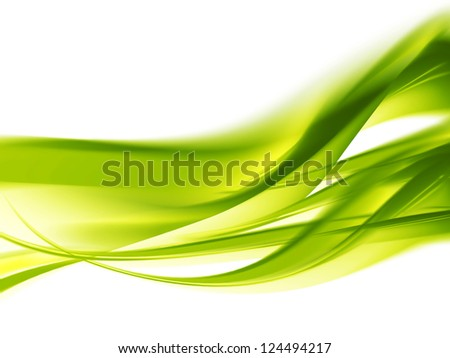 Abstract spring background with smooth green lines - stock photo