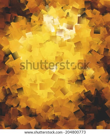 Abstract square brushes in golden spectrum with vignette effect - stock photo