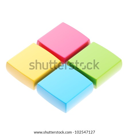 Abstract square copyspace background cubes isolated on white - stock photo