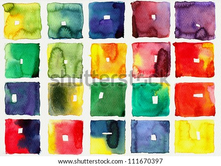 Abstract square watercolor : illustration on paper - stock photo