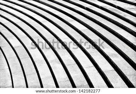 Abstract stairs in black and white, abstract steps, stairs in the city, granite stairs,wIde stone stairway often seen on monuments and landmarks,wide stone stairs, steps,black and white photo,diagonal - stock photo