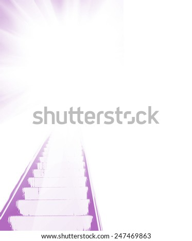Abstract stairs to light - stock photo