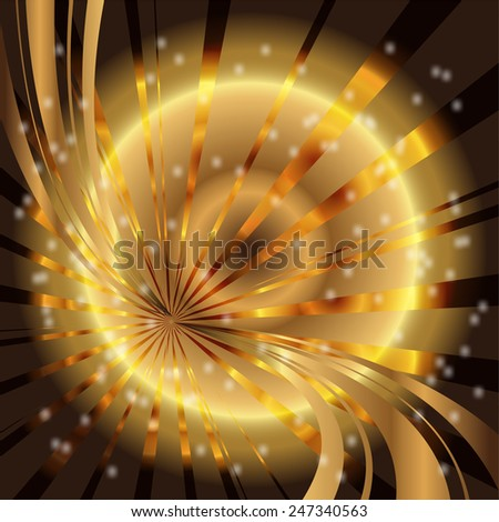 Abstract star dots golden rays background  template - stock photo