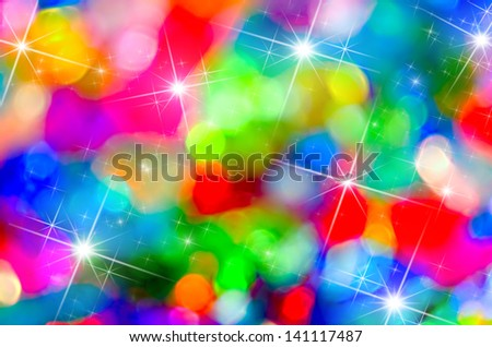 Abstract stars colorful Christmas background holiday bokeh. - stock photo