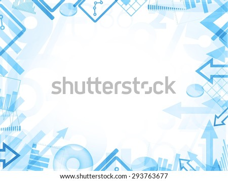 abstract statistics blue background frame border illustration - stock photo