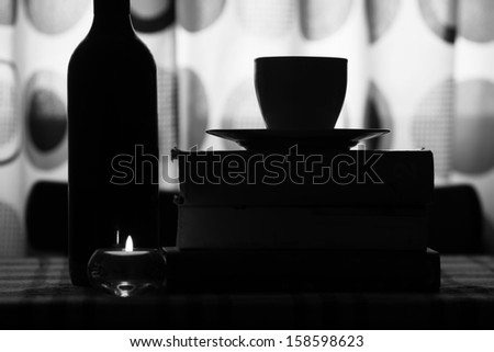 abstract still-life conceptual background with old books and coffee  - stock photo